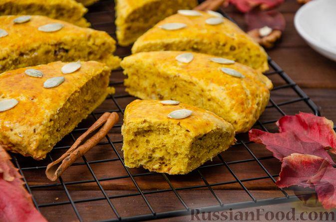 Фото приготовления рецепта: Тыквенные сконы с грецкими орехами и корицей - шаг №15