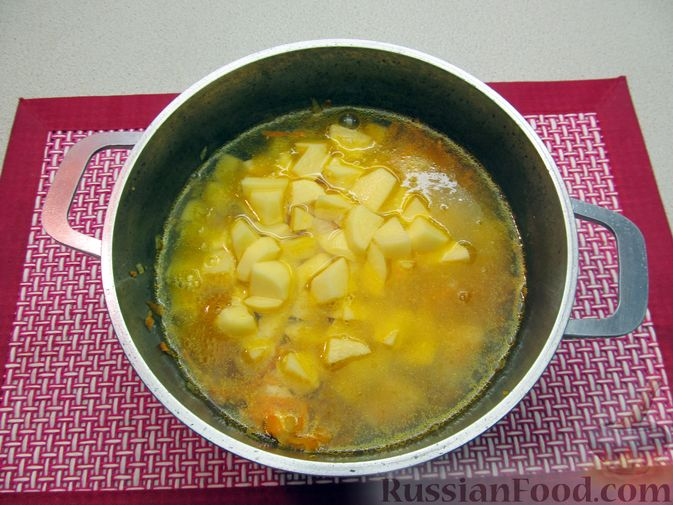 Фото приготовления рецепта: Щи из свежей капусты с курицей, сладким перцем и молоком - шаг №9