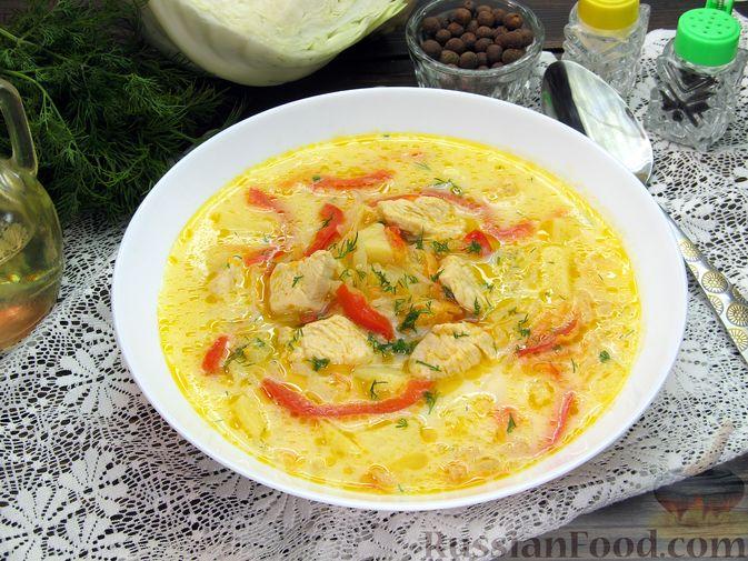Фото приготовления рецепта: Щи из свежей капусты с курицей, сладким перцем и молоком - шаг №19