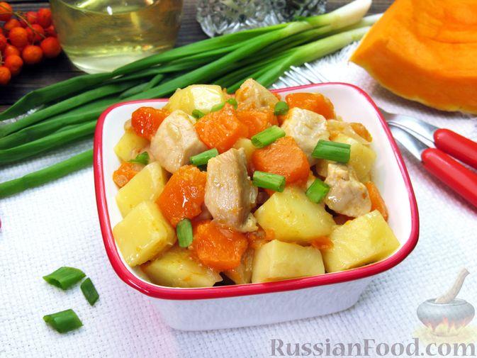 Фото приготовления рецепта: Рагу с курицей, картофелем и тыквой - шаг №13