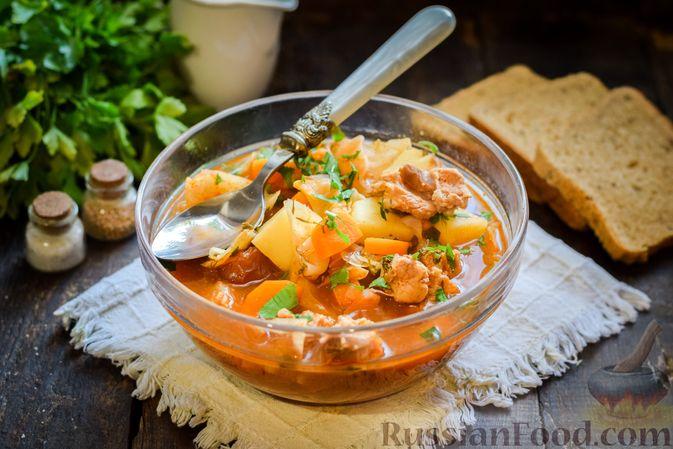 Фото приготовления рецепта: Щи из свежей капусты со свининой и помидорами - шаг №14