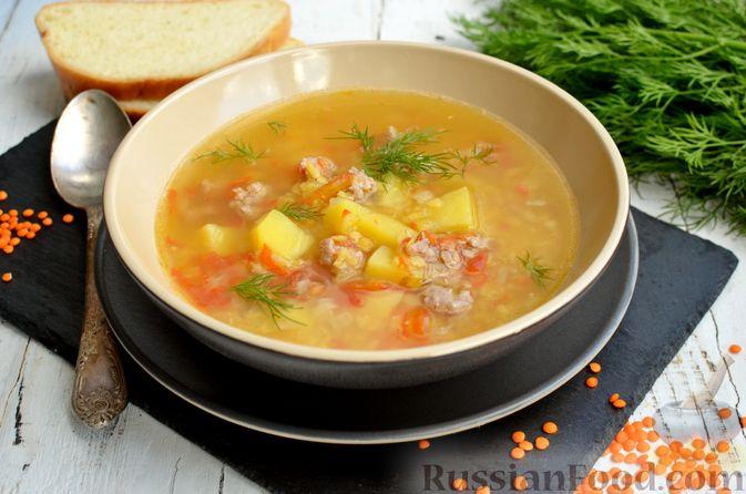 Фото к рецепту: Суп с чечевицей и мясным фаршем