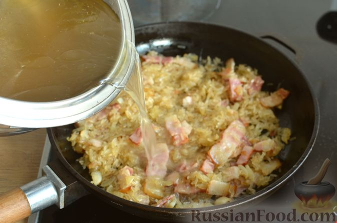 Фото приготовления рецепта: Ризотто с тыквой и беконом - шаг №14