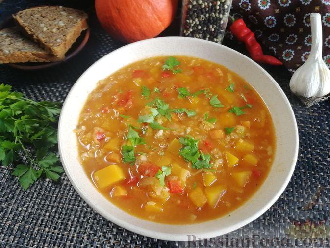 Фото приготовления рецепта: Острый гороховый суп с тыквой - шаг №12