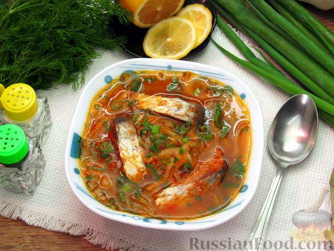 Фото к рецепту: Щи с консервированной рыбой и томатной пастой