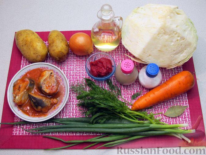 Фото приготовления рецепта: Щи с консервированной рыбой и томатной пастой - шаг №1