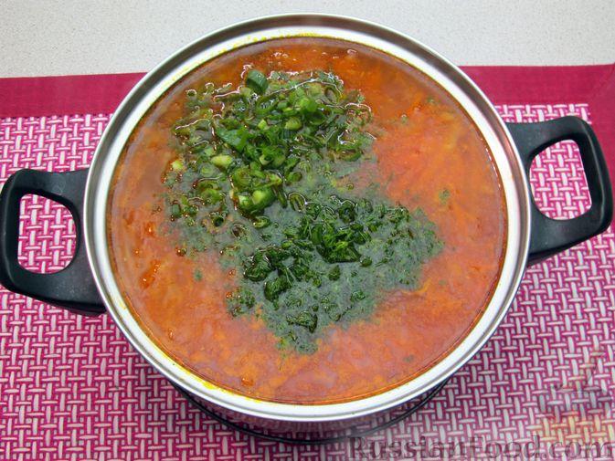 Фото приготовления рецепта: Щи с консервированной рыбой и томатной пастой - шаг №15