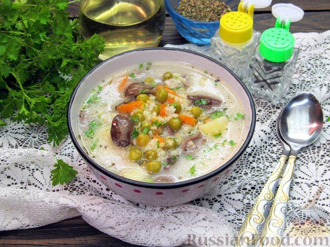 Фото к рецепту: Сырный суп с куриными сердечками, булгуром и  консервированным горошком