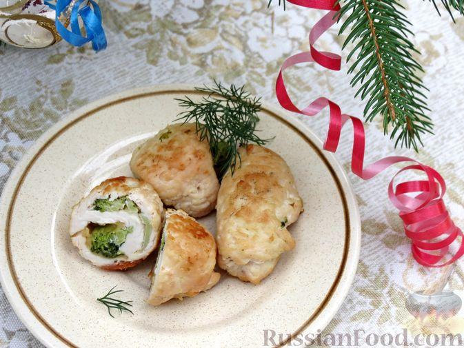 Фото приготовления рецепта: Куриные рулеты с брокколи и сыром (в духовке) - шаг №9