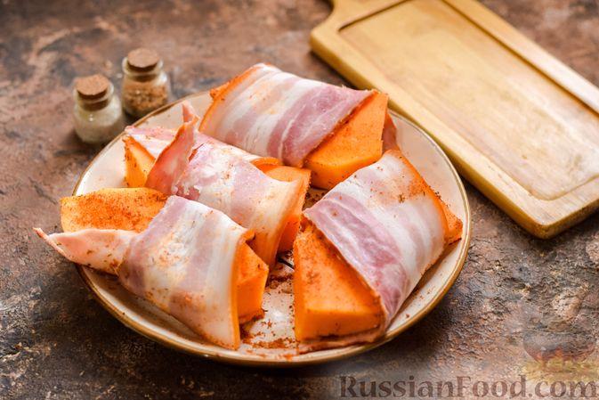 Фото приготовления рецепта: Тыква, запечённая в беконе - шаг №4