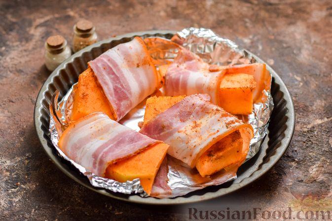 Фото приготовления рецепта: Тыква, запечённая в беконе - шаг №5