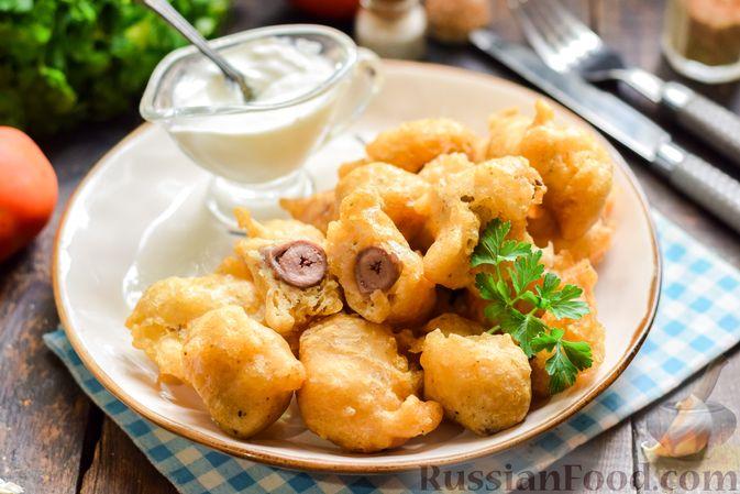 Фото к рецепту: Куриные сердечки в сырном кляре,  жаренные во фритюре