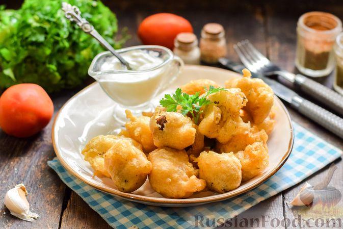 Фото приготовления рецепта: Куриные сердечки в сырном кляре,  жаренные во фритюре - шаг №11