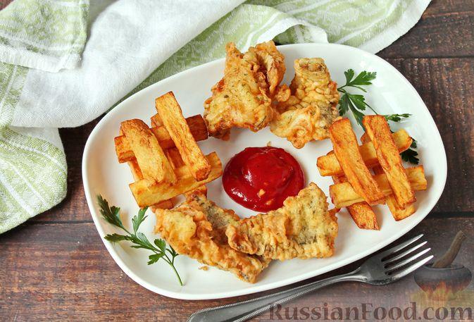 Фото к рецепту: Жареная рыба в пивном кляре с картофелем фри (фиш-энд-чипс)