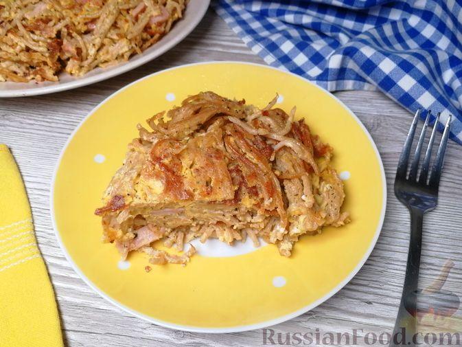 Фото к рецепту: Фриттата с макаронами, сыром и копчёностями