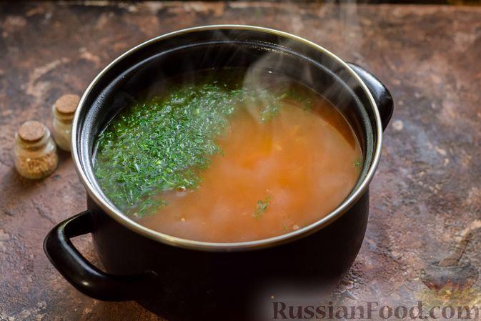 Фото приготовления рецепта: Суп из консервированной горбуши с плавленым сыром - шаг №11