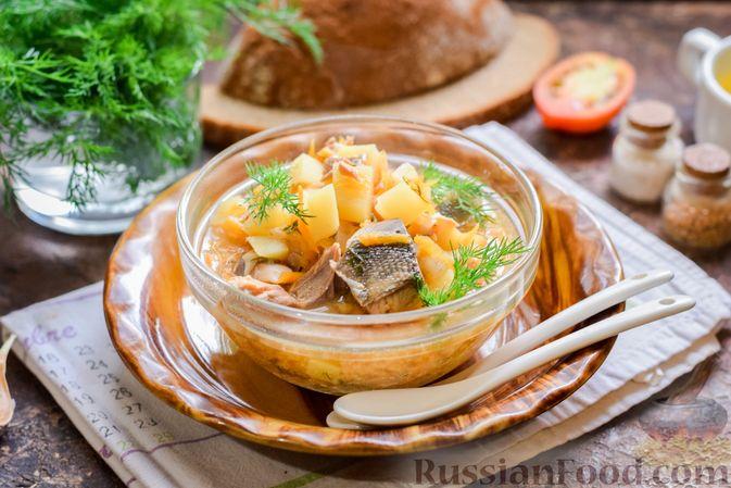 Фото приготовления рецепта: Суп из консервированной горбуши с плавленым сыром - шаг №12