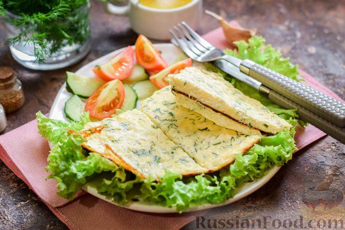 Фото к рецепту: Омлет на кефире с плавленым сыром