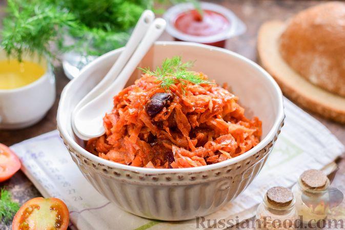 Фото к рецепту: Капуста, тушенная со свёклой и фасолью