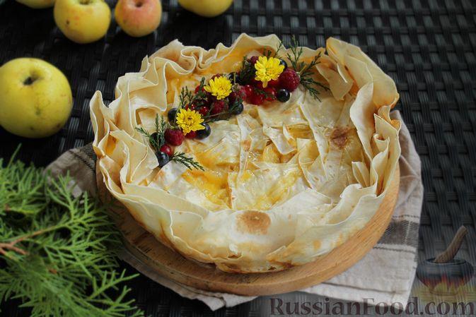 Фото к рецепту: Пирог из лаваша, с яблоками и яично-сметанной заливкой