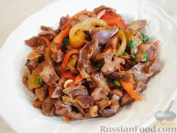 Фото к рецепту: Куриные желудочки по-азиатски