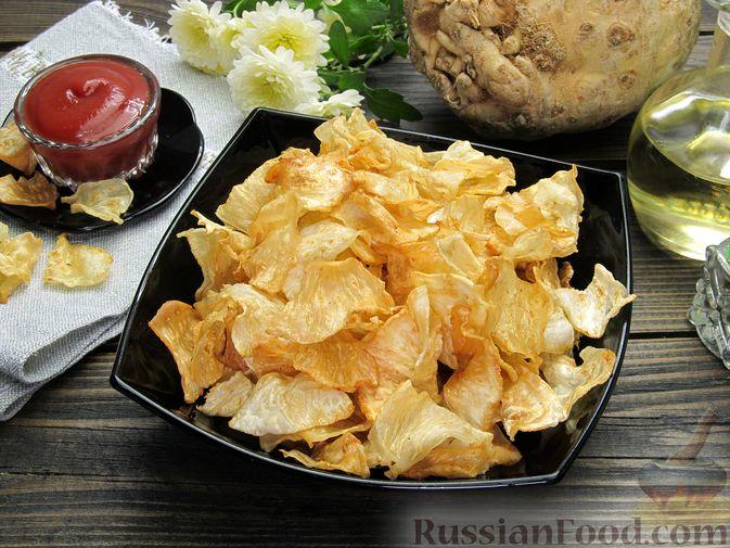 Фото приготовления рецепта: Чипсы из сельдерея - шаг №10