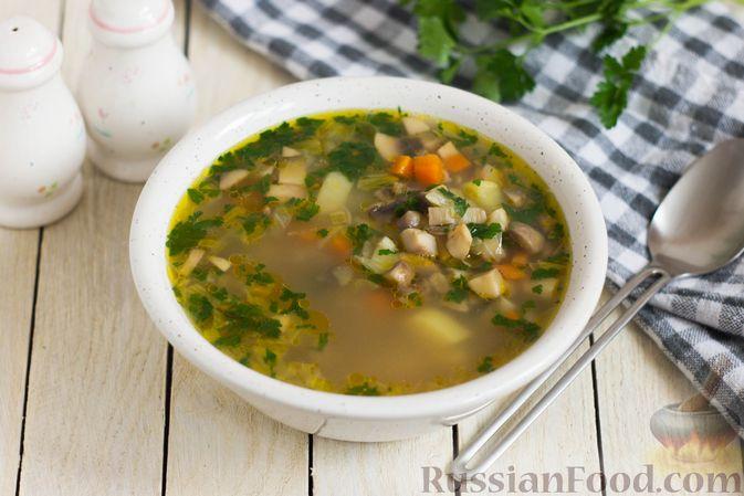 Фото к рецепту: Суп с шампиньонами и овсянкой