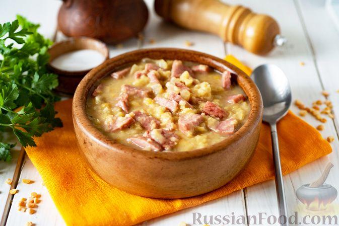 Фото к рецепту: Гороховая каша с колбасой