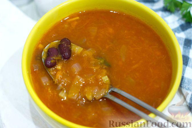 Фото приготовления рецепта: Тыквенный суп с фасолью и сельдереем - шаг №10