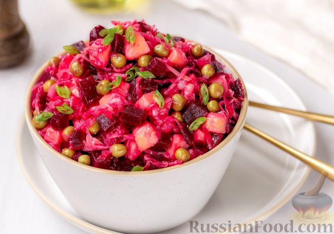 Фото к рецепту: Винегрет с квашеной капустой и зелёным горошком (без моркови)
