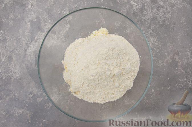 Фото приготовления рецепта: Творожный пирог-плетёнка с яблочной начинкой - шаг №5
