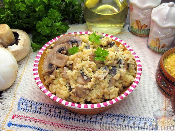 Фото к рецепту: Булгур со сливочно-грибным соусом