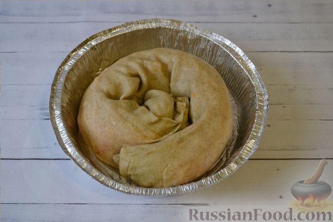 Фото приготовления рецепта: Вертута с тыквой и хурмой, из цельнозерновой муки - шаг №12