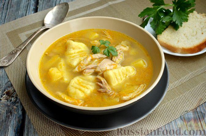 Фото к рецепту: Куриный суп с картофельными ньокками