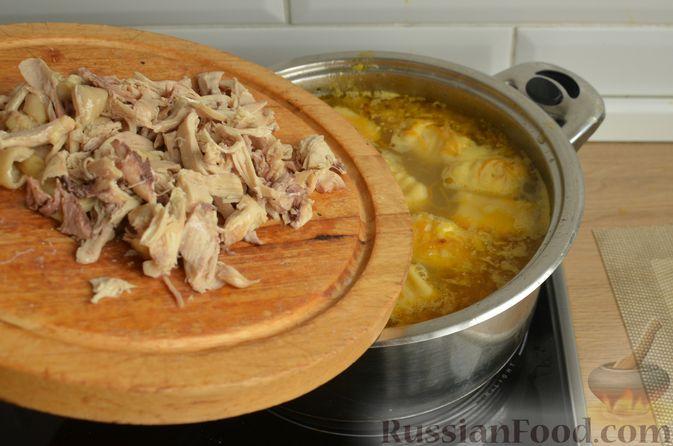 Фото приготовления рецепта: Куриный суп с картофельными ньокками - шаг №13