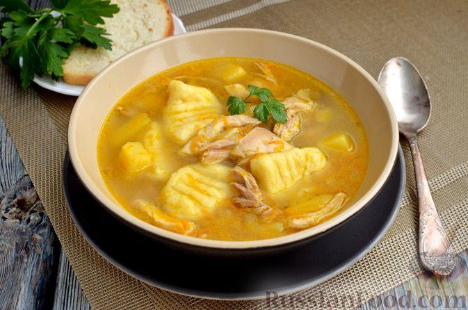 Фото приготовления рецепта: Куриный суп с картофельными ньокками - шаг №15
