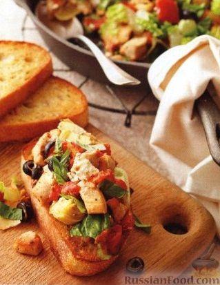 Рецепт Закусочные бутерброды с куриным филе и овощами
