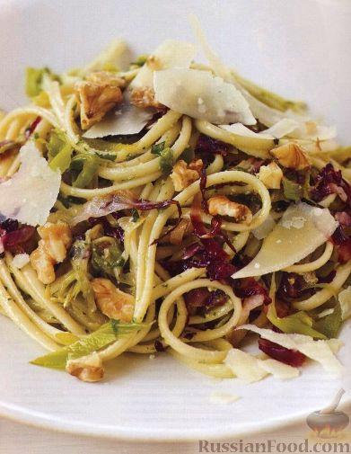 Рецепт Спагетти с радиччио, пореем и соусом песто
