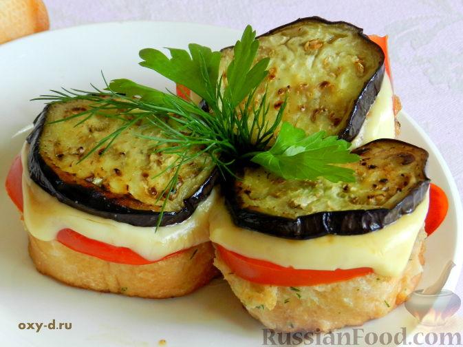 Рецепт Башенки из баклажанов и помидоров с сыром