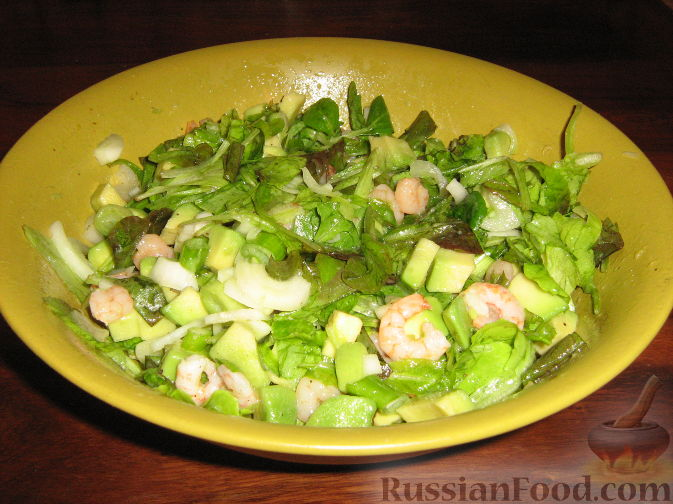 салат с креветками рецепт с фото на много порций