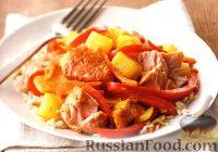 Фото к рецепту: Лосось с овощами и ананасом в кокосовом соусе
