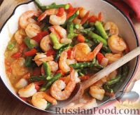 Фото к рецепту: Рагу из креветок, болгарского перца и спаржи