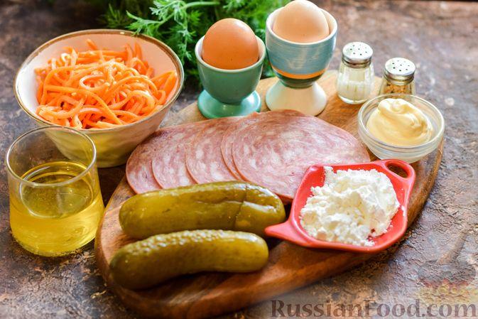 Фото приготовления рецепта: Салат с ветчиной, морковью по-корейски, маринованными огурцами и яичными блинчиками - шаг №1