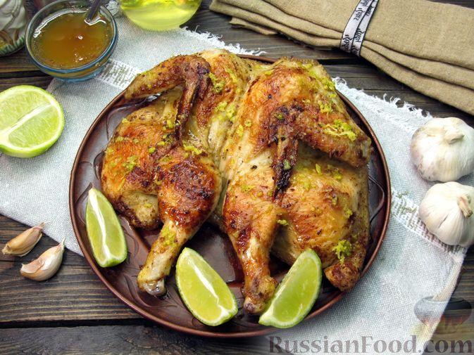 Фото приготовления рецепта: Цыплёнок табака (тапака) с лаймом - шаг №20