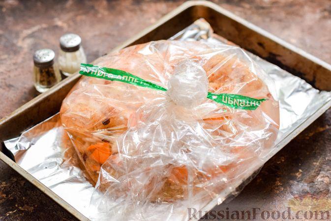 Фото приготовления рецепта: Куриное филе, запечённое с булгуром и овощами в рукаве - шаг №8
