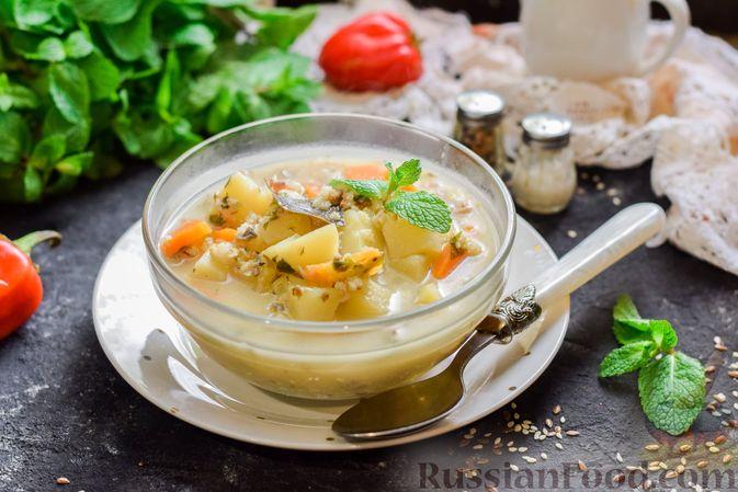 Фото к рецепту: Рыбный суп из консервов, с пшеном