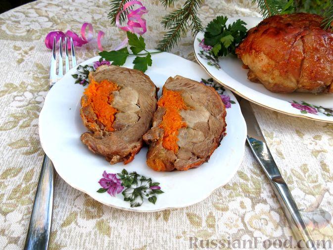 Фото приготовления рецепта: Рулеты из голени индейки с морковью и сыром - шаг №14