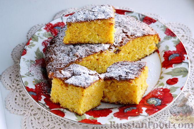 Фото приготовления рецепта: Пирог на кефире, с кукурузной крупой и апельсином - шаг №12