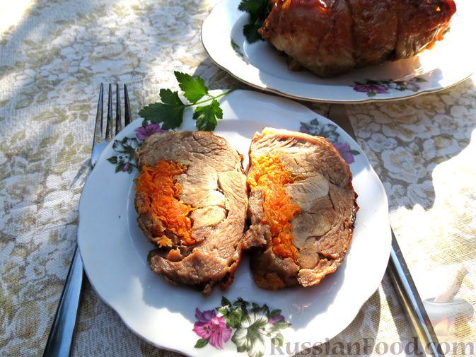 Фото приготовления рецепта: Рулеты из голени индейки с морковью и сыром - шаг №15