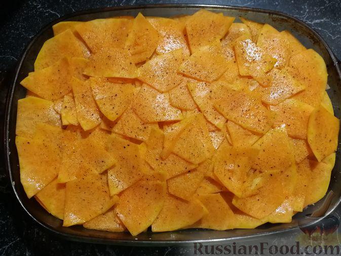 Фото приготовления рецепта: Запеканка с картофелем, тыквой и фаршем из куриных потрошков - шаг №6